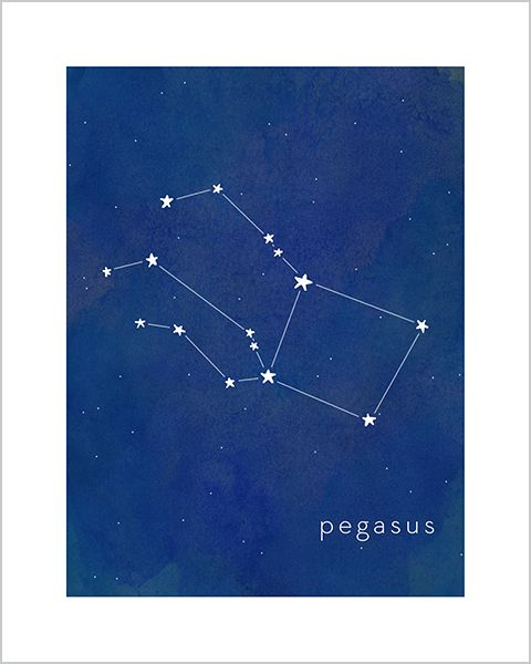 Art print for baby and kid's rooms from Hello Happy Design www.hellohappydesign.com. Pegasus constellation; stars