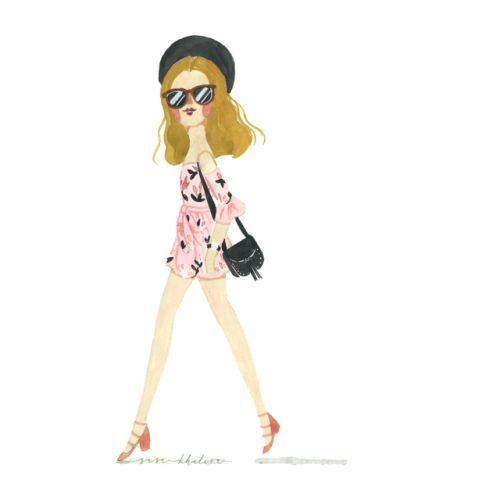 Spring Chic! | watercolor fashion illustration by Sasa Khalisa
