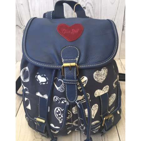 Cotton Road Blue Hearts Leather Flap Backpack