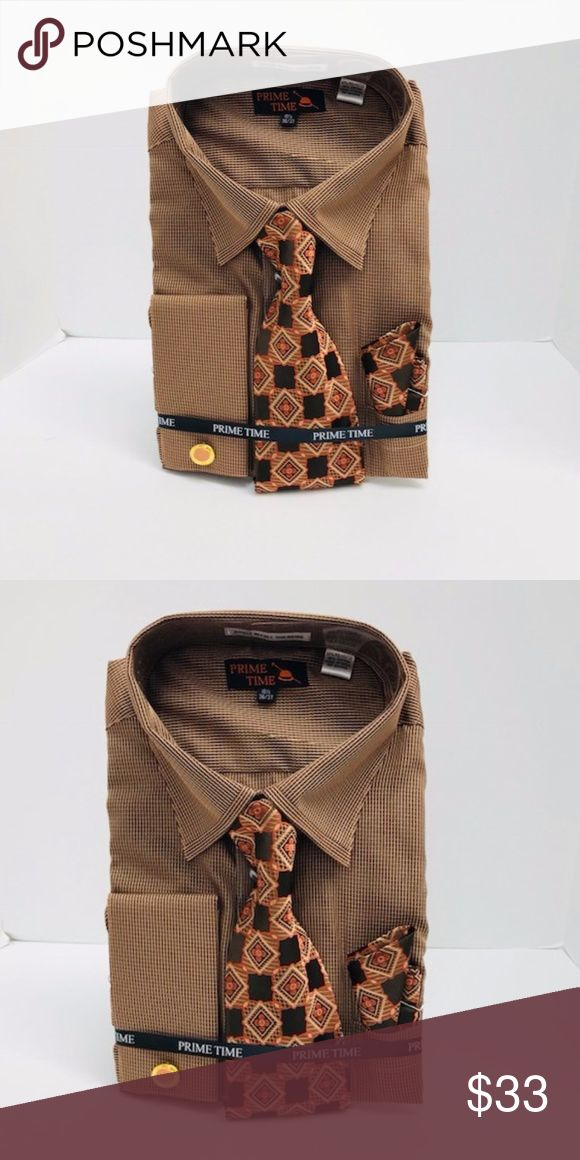 Men's Dress Shirt Brown Combo Pack Prime Time Prime Time Men's Brown Dress Shirt Combo Pack Brown Rust Tie & Hanky French Cuffs with Cufflinks Single Needle Threading 65% Polyester & 35% Cotton Made in China Prime Time Shirts Dress Shirts