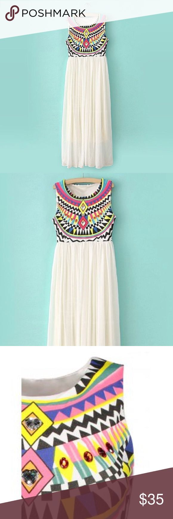 Bohemian White Flowy Aztec Midi Maxi Summer Dress Bohemian White Flowy Aztec Midi Maxi Summer Dress  This dress is super cute and comes to the middle of the calf on most - it's not quite a maxi dress (but may be on very short people). There's stones along the printed aztec front, some are hearts, it's very cute for summer and would be perfect for a young boho chick!   Brand new without tags  Size small but the size tag fell off  Please ask all questions before purchasing! Dresses Midi