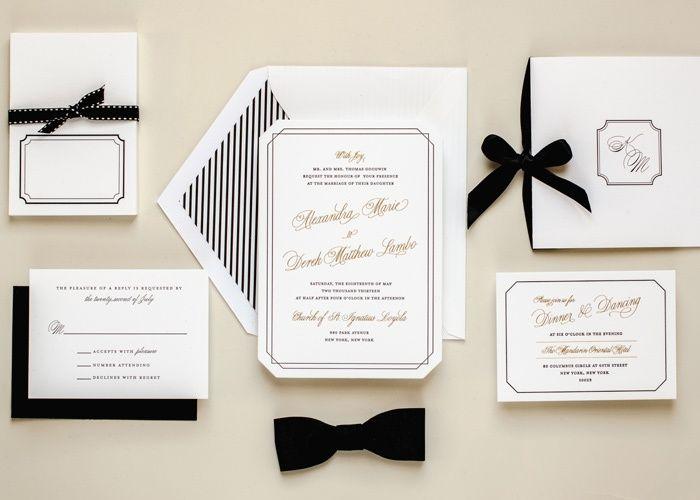 WEEKEND INSPIRATION: Black, White, & Gold Wedding Invitations // www.jordanmcbride.com