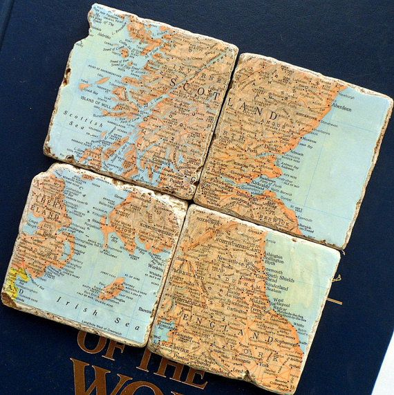 Scotland and England Map Coasters by sosucculent