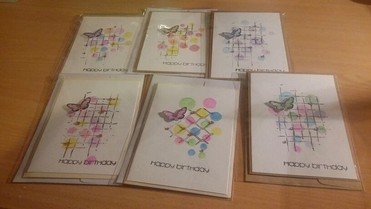 6 watercolour cards