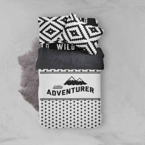 Boy Toddler Bedding Sets - Advetnure Wild Aztec Monochrome - Toddler Duvet Cover - Kids Bedding - Pillow Case - Kids Duvet Cover - Comforter