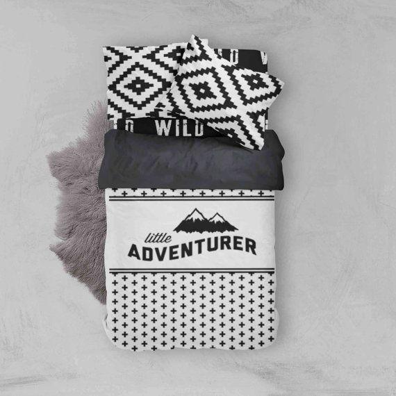 Boy Toddler Bedding Sets - Advetnure Wild Aztec Monochrome - Toddler Duvet Cover - Kids Bedding - Pillow Case - Kids Duvet Cover - Comforter