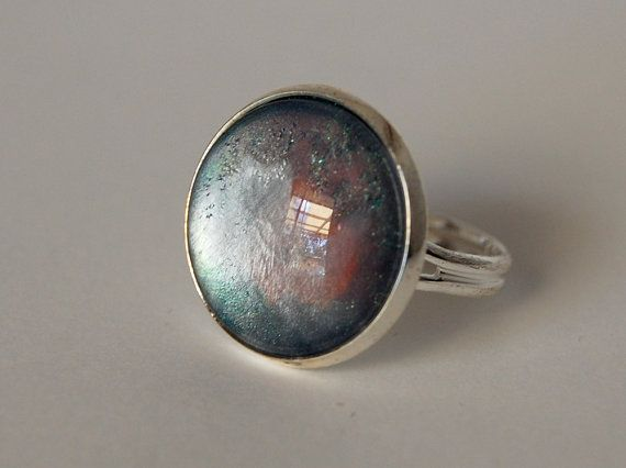 Amidst the Mist  hand painted glass statement ring by JeweleaBlue