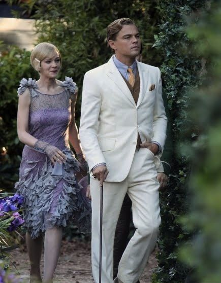 Carey Mulligan and Leonardo DiCaprio in 'The Great-Gatsby' (2013). The men's clothing was designed by the label Brooks Brothers, and the women's outfits by Miuccia Prada - in collaboration with Catherine Martin.