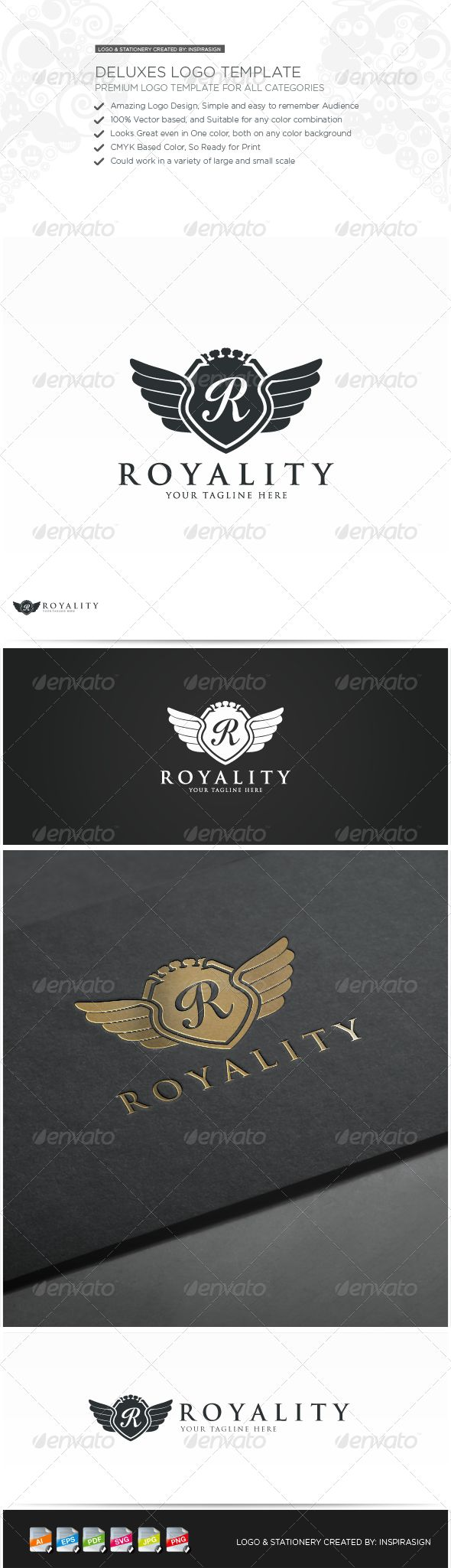 Royality - Premium Logo for all Categories  #GraphicRiver          This brand is suitable for every kind of All category business sector or personal logo.Name, color…etc changes can be done according to your desire.  INCLUDED IN THE MAIN FILE  10 LOGO VARIATIONS  Ai (Adobe illustrator)  EPS (Encapsulated PostScript)  PSD (Photoshop)  PDF  SVG (Scalable Vector Graphics)  PNG (Transparent Background with Different Sizes)  JPG All Files is based Vector, you can edit color and font on Ai (Adobe…