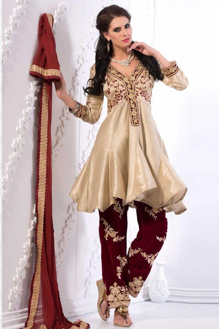 #AndaazFashion presents Cream Art Silk Trouser Suit and Dupatta   http://www.andaazfashion.com/salwar-kameez/trouser-suits/cream-art-silk-trouser-suit-and-dupatta-dmv13770.html