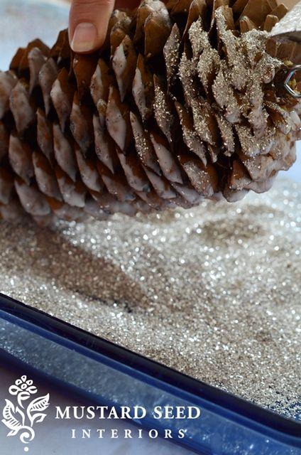 glittering pine cones tutorial