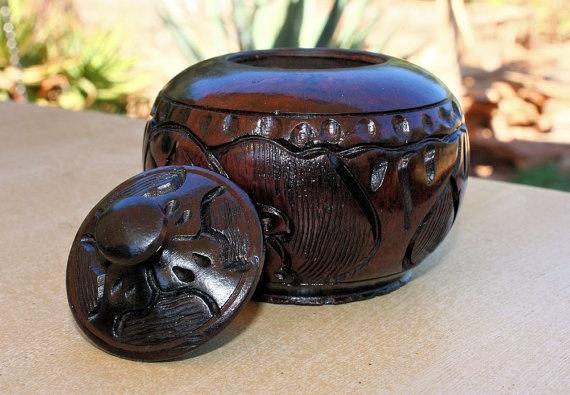Ebony Handcarved African Africa Wooden Elephant Sugar Bowl ...