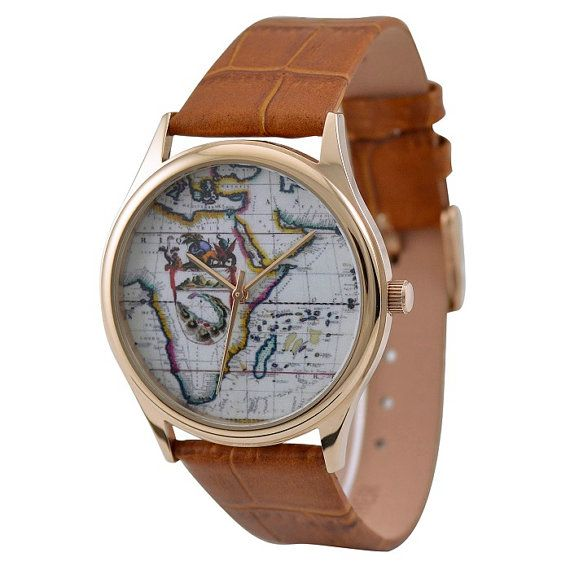 Gift Guide Item #19: Watch with Africa map decor.