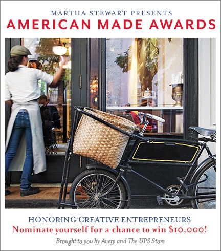 Martha and the editors of Martha Stewart Living magazine are searching for the rising stars in a new generation of creative entrepreneurs. They will select Ten American Makers and are looking for an 11th maker to receive the Audience Choice Award.  I MADE THE FINALS PEOPLE! PLEASE VOTE!