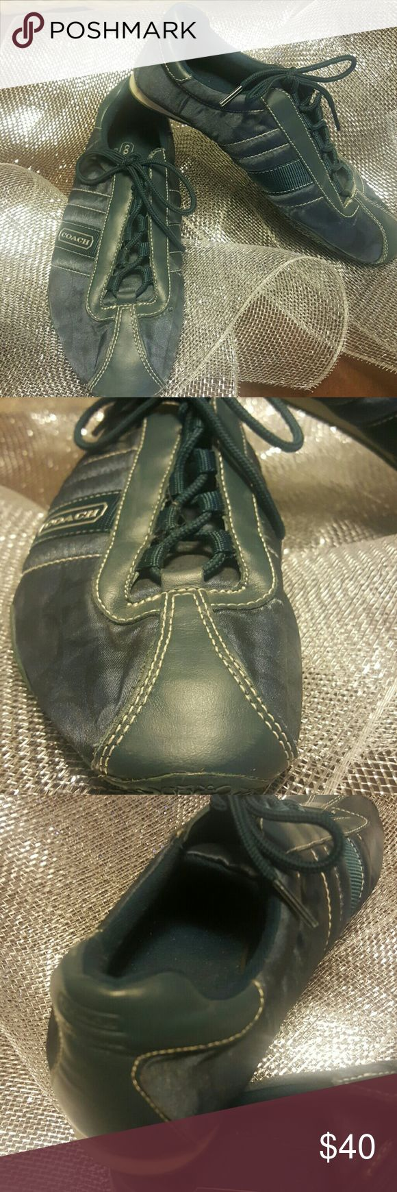 Rare teal blue coach tennis shoes....offers accept Beautiful lightly worn teal blue tennis shoes. Well taken care of & comfy Coach Shoes Sneakers