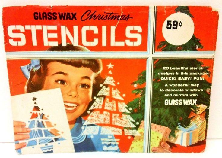 9.95 Vintage Glass Wax Christmas Window Stencils Santa Tree Stocking Xmas Candle Bell #GlassWaxStencils #ChristmasStencils #VintageChristmas