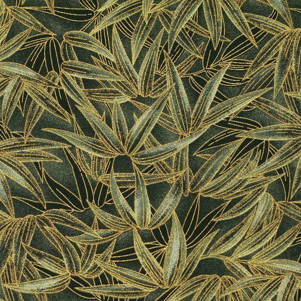 Tessuto giapponese - Tessuto Cotone Giapponese Foglia Bambù VJ31 Verde - un prodotto unico di FabricTime su DaWanda