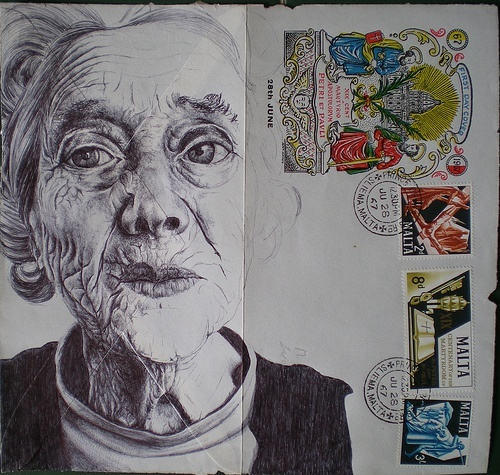 Mark Powell: Although this study doesn't follow what I intend for this exam, I really like the way the artist has included stamps but most importantly the detail in the face and how it shows the lines in the face. Beautiful tonal piece.
