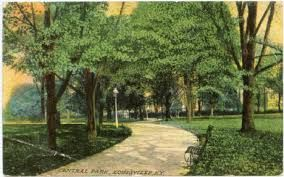 Central Park, designed by Frederick Law Olmstead. Still much the same today