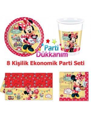 Minnie Mouse Cafe Parti Seti 8 Kişilik