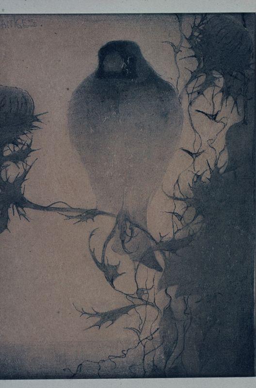 Puttertje op bloeiende distel, Jan Mankes (1910)