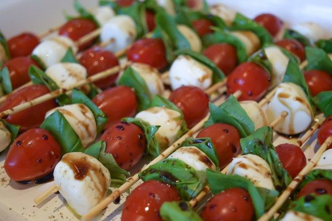 Basil, Tomato and Mozzarella Skewers | Two Hands Baker