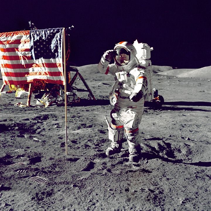 Astronaut, Americká Vlajka, Pozdrav, Miesto, American