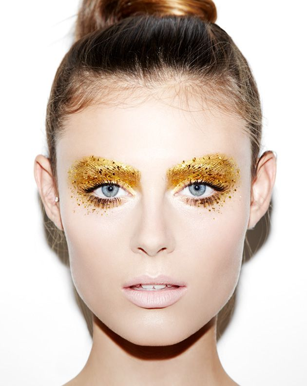 Gilded eye shadow.                                                                                                                                                                                 More