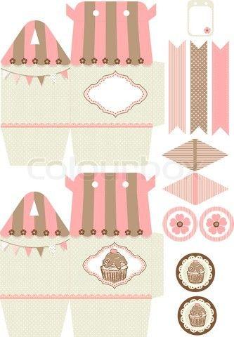 Vector of 'Cupcake box template'