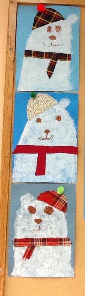 Πολική αρκούδα. Τέμπερα απλωμένη ταμποναριστά με σφουγγάρι. Χαρακτηριστικά με λαδοπαστέλ. Λεπτομέρειες με υφάσματα - Νηπιαγωγείο Σγουροκεφαλίου