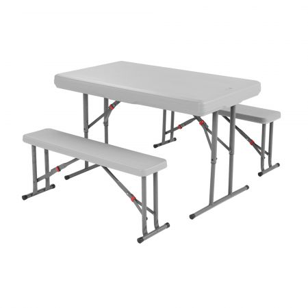 Foldable table and benches.