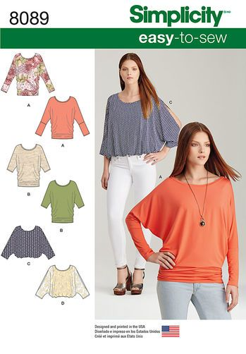8089 Misses Easy-to-Sew Knit Tops Spring 2016