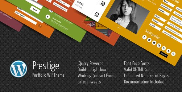 Prestige is a minimal and colorful portfolio WordPress Theme based on different color menu tabs. Tabs are presenting pages content. Each page is a single tab. Tags: wordpress, theme, black, blog, business, clean, contact form, corporate, cv, minimalist, modern, personal, personal profile, portfolio, resume, vcard, widget.