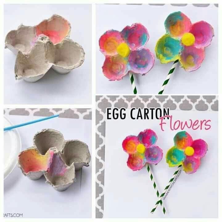 Bloemetjes maken van eierdozen.