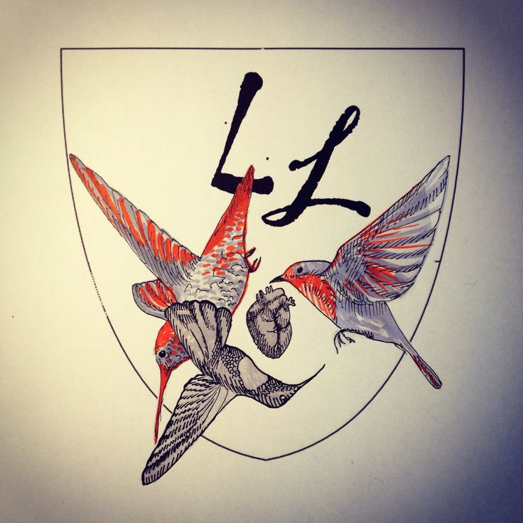 Blason, colibris et rouge-gorge .