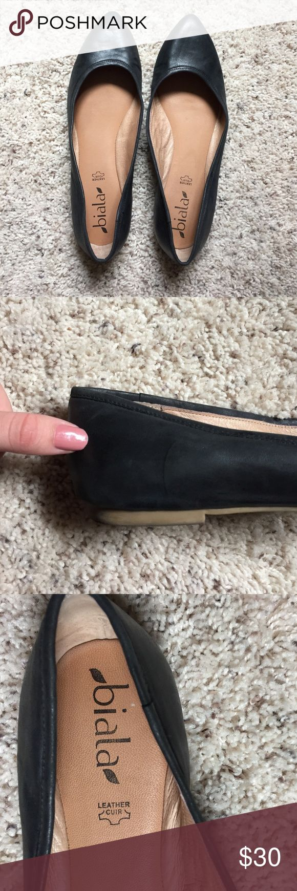 Black Leather Flats Slight Heal Black Leather Flats Slight Heal. Worn for 3 interviews. Got the job so these are lucky too! A comfortable pair of shoes. used slightly. Steve Madden Shoes Flats & Loafers