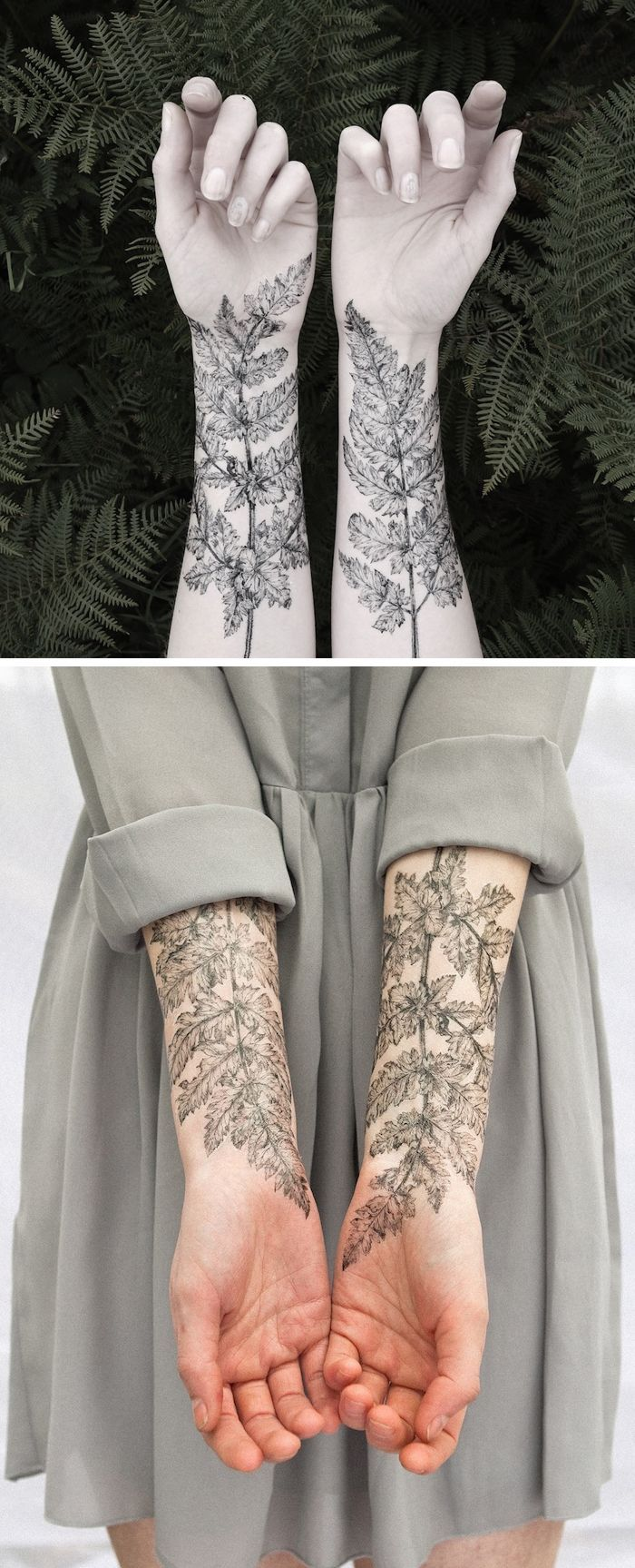Fern and crystals temporary tattoos