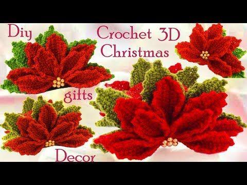 Servilletero de flores Nochebuena a Crochet en punto 3D tejido tallermanualperu - YouTube