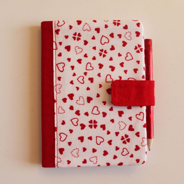 DIY little covered notebooks for Valentines day