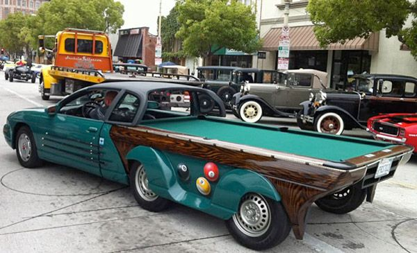 Pool Table Car! this is awesome! now u will always have something to do when at car shows... lol