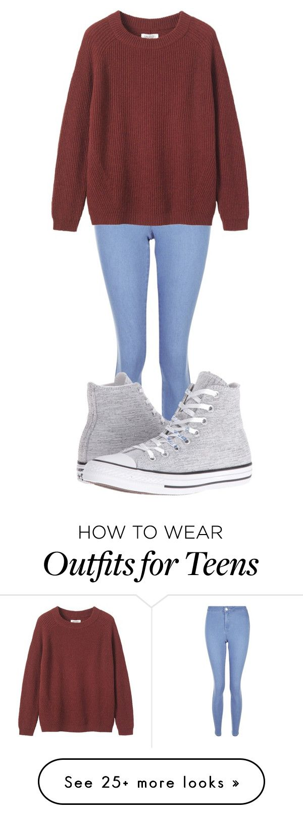 """""""Toast Fisherman Ribbed Jumper"""" by foreveryoung-and-infinite-143 on Polyvore featuring New Look, Toast and Converse"""
