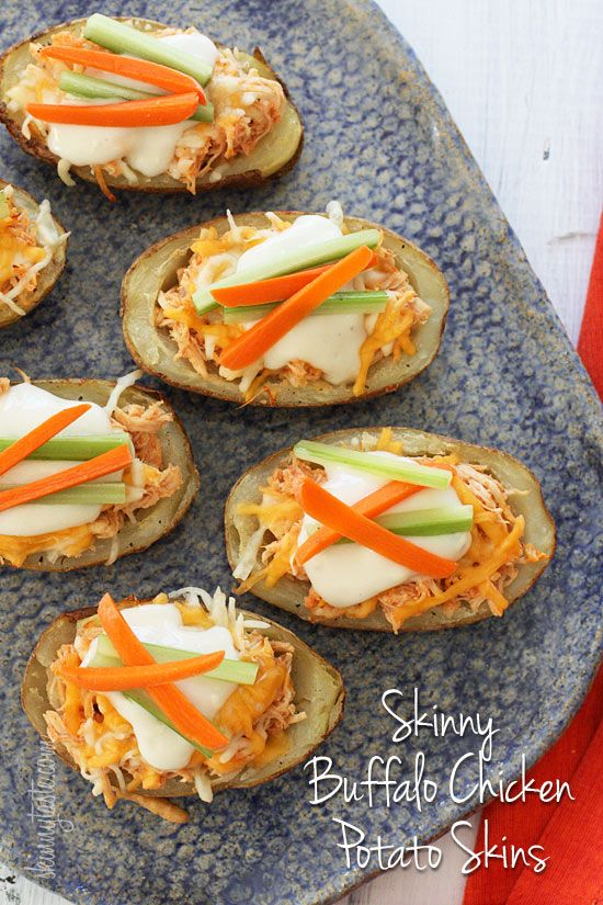 Skinny Buffalo Chicken Potato Skins - These potato skins are stuffed with shredded buffalo chicken breast made in the crock pot.