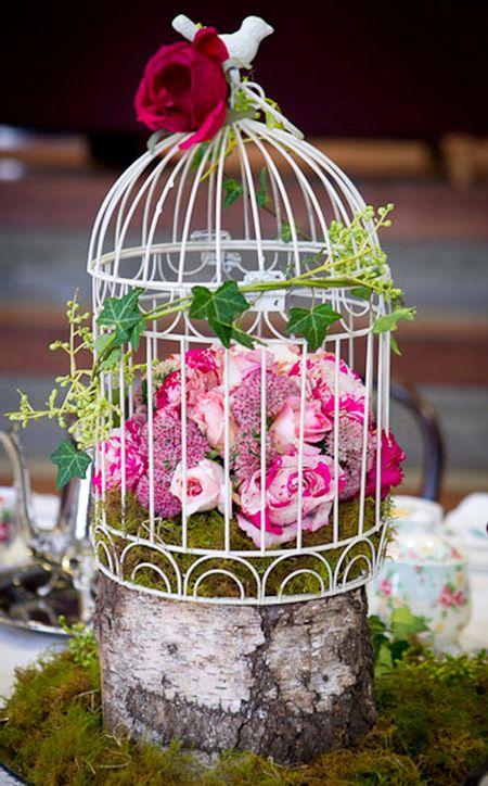 Birdcage flowers entertaining centerpieces table