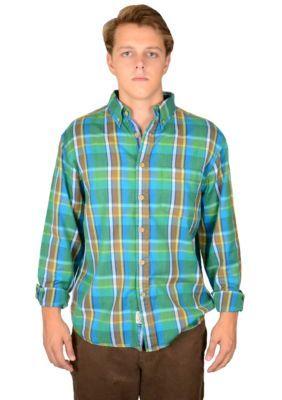 Vintage 1946 Men's Plaid Teal Shirt -  - No Size
