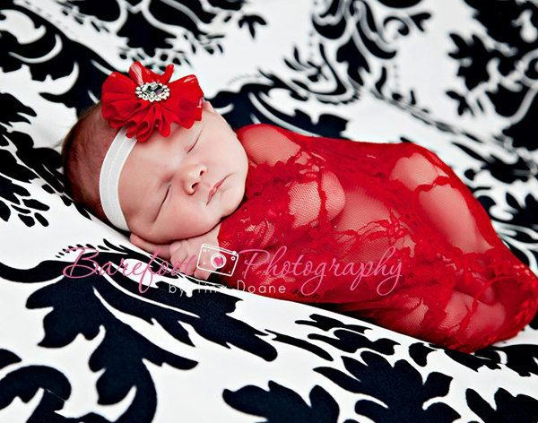 Red Newborn Baby Girl Floral Stretch Lace Wrap Vintage - Great Photography Prop for Christmas Holiday - Ready to Ship. $10.00, via Etsy.