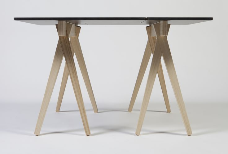 Monolith table top on CHOPSTICK sawhorses