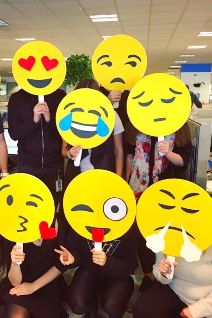 You'll definitely win the Halloween costume contest at work this year with these fun group costume ideas, like these cute (and super easy!) emojis.