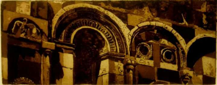 Gravür (Engrave)  Teknik : AQUATINTA  Ani katedrali (detay)- KARS  30X65 cm 2015