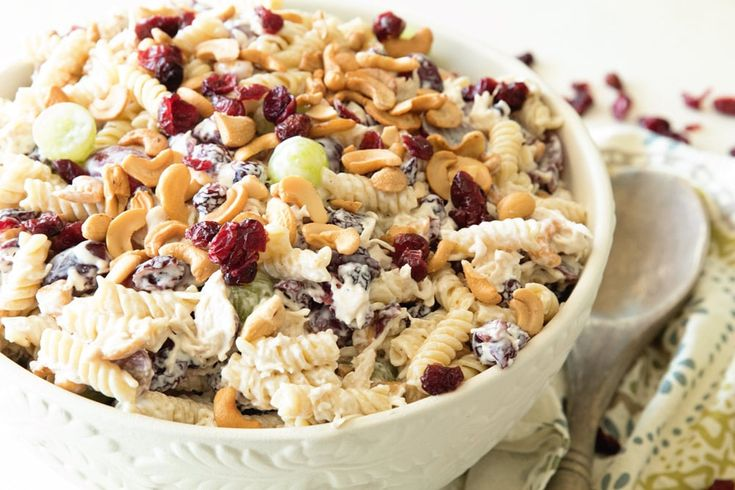 Cashew Chicken Rotini Salad ~ Loaded with Cashews, Grapes, Chicken, Pasta and Dried Cranberries! Perfect Pasta Salad Recipe for the Summer! ~ https://www.julieseatsandtreats.com