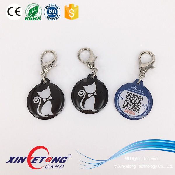 Custom Printed QR code and URL Encoded Epoxy NFC Pet Tag with 215 NFC Chip